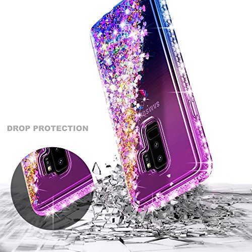 Galaxy S9 Plus Case w/[Full Coverage Screen Protector HD], NageBee Glitter Liquid Quicksand Floating Shiny Sparkle Flowing Bling Diamond Luxury Clear Cute Case For Samsung Galaxy S9 Plus -Purple/Blue by NageBee (Image #4)