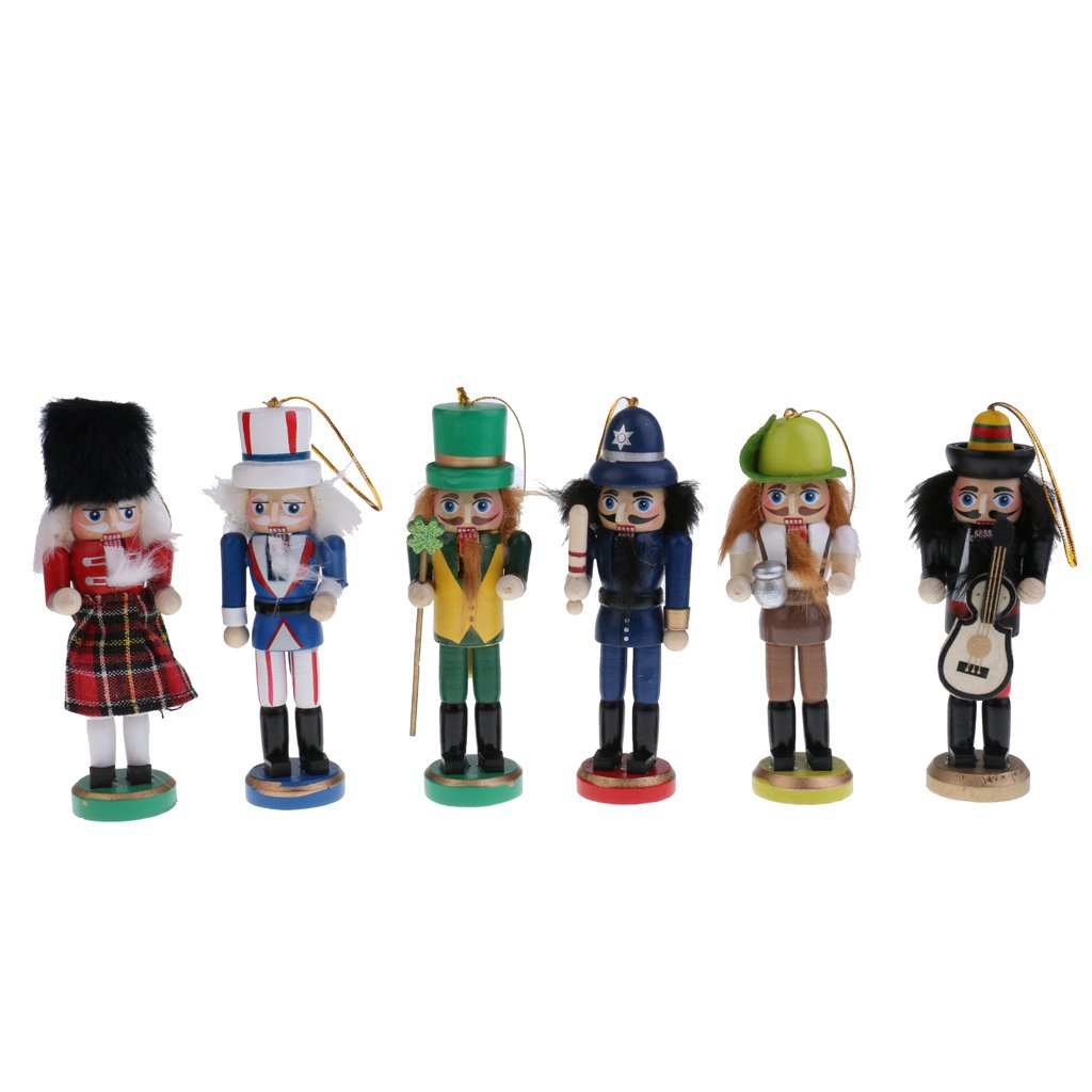 Jili Online 6Pcs 12cm Traditional Wooden Christmas Nutcracker American Soldier Hold Guitar Figures Dolls Office Desk Home Decoration Children Christmas Gifts