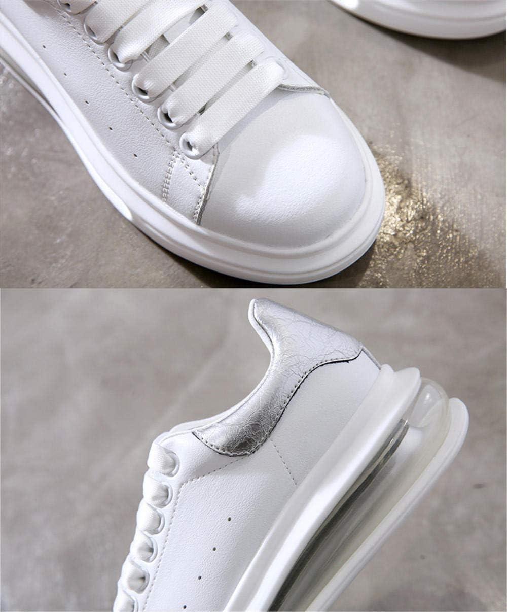 XL_nsxiezi Sneakers Femme en Cuir véritable argent