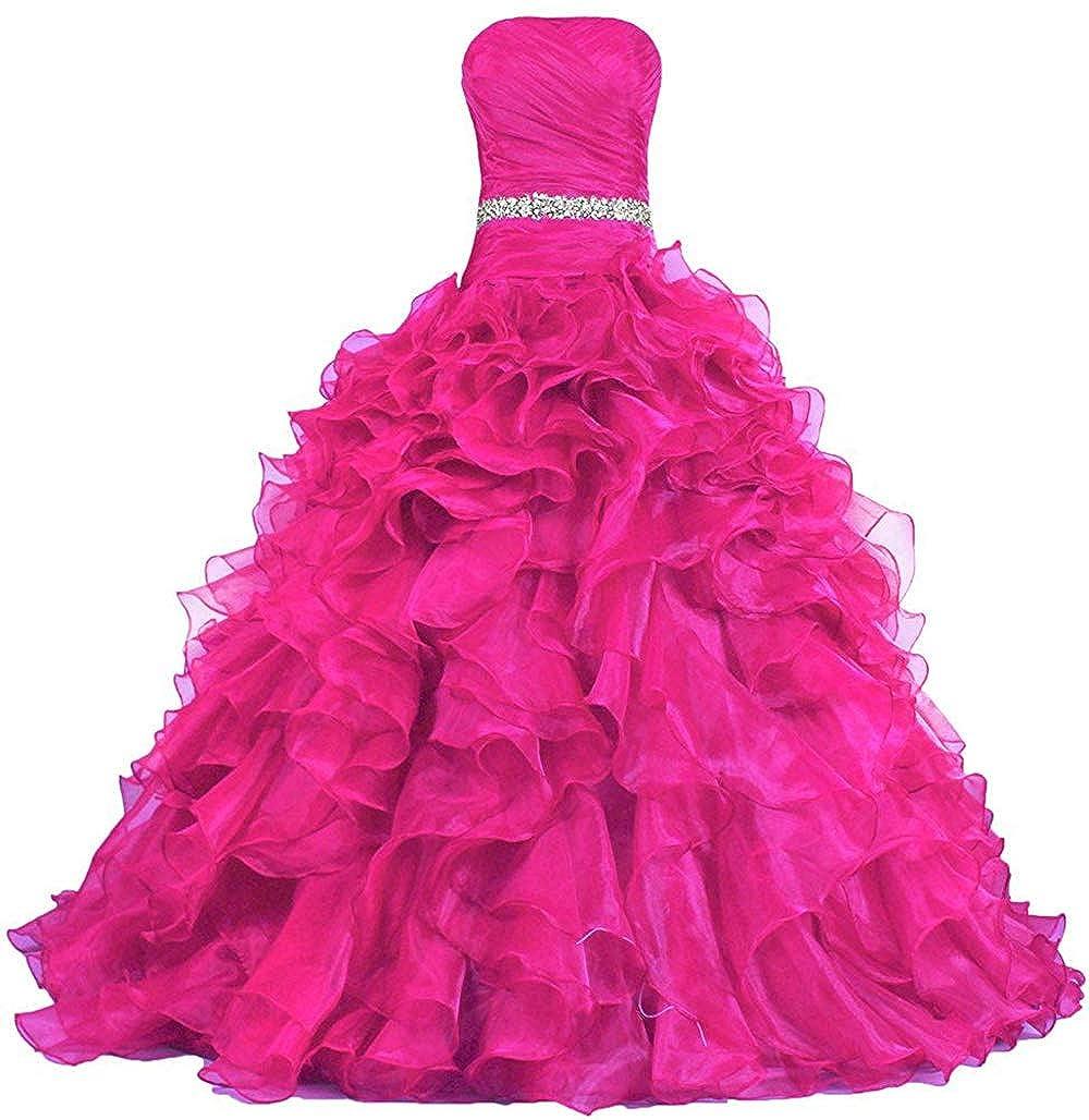 Hot Pink Wanshaqin Women's Strapless Sweetheart Ball Gowns Dresses Organza Ruffles Quinceanera Dresses for Sweet 16