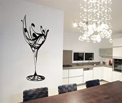 ColorfulHall 23.6u0026quot; X 40.2u0026quot; Black Abstract Elegant Wine Glass Wall  Decal Kitchen Wall Sticker