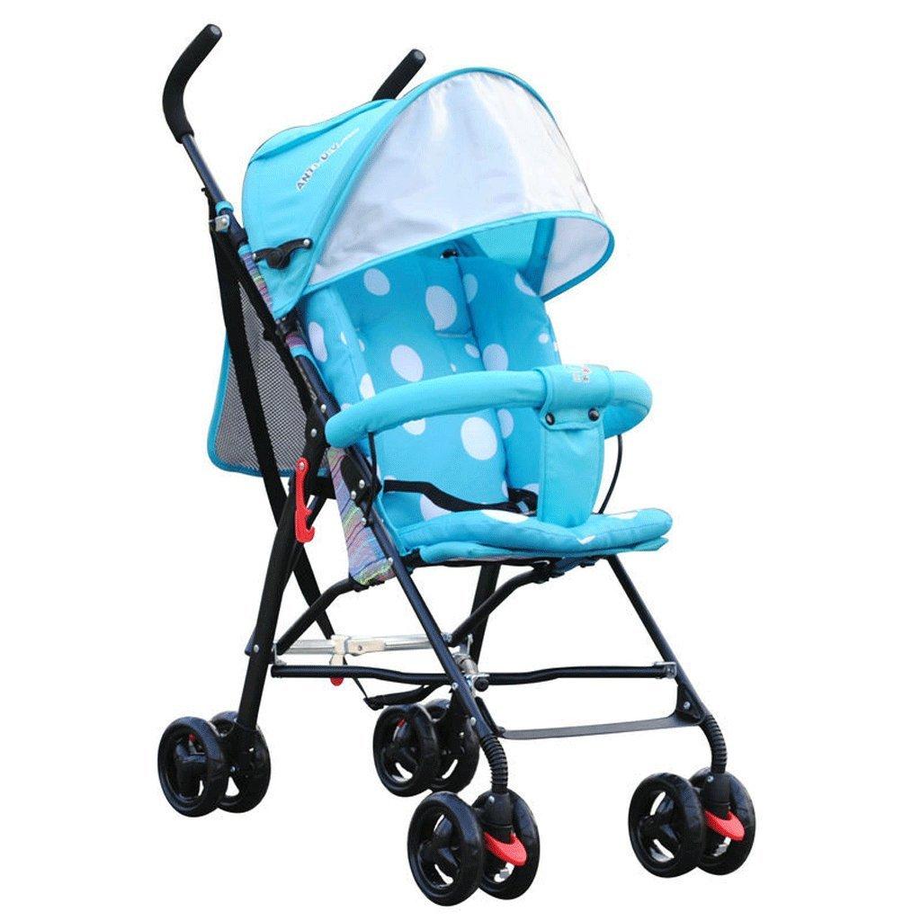 赤ちゃんのベビーカー超軽量ポータブル折りたたみ四輪サスペンション傘子供のトロリー(青)(紫)63 * 45 * 96センチメートル ( Color : Blue ) B07BW67F88