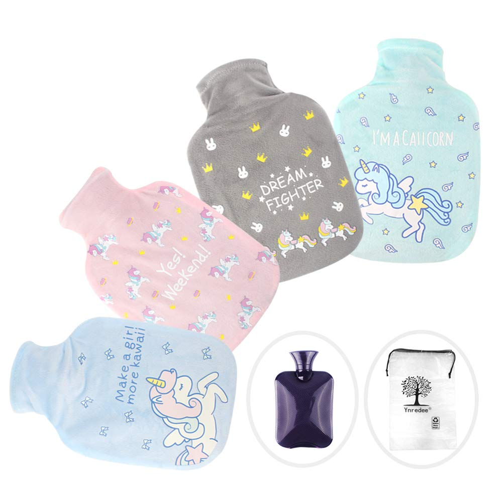 4 Pcs Rubber Hot Water Bottle with Cute Unicorn Cover, Natural Rubber with 1 Litre Ynredee Y-0/21