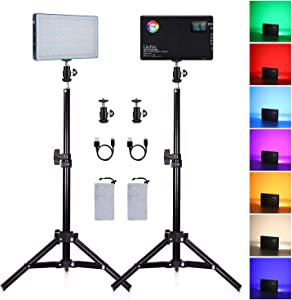 2-Pack RGB LED Video Light Kit with 50CM Light Stand, 360° Full Color Built-in 4040mAh Rechargeable Battery 3200K-7500K Photo Light Panel Lighting Kit for YouTube Studio Photography Shooting