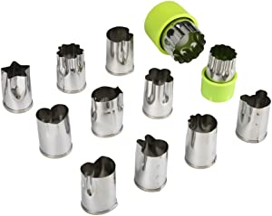 HUAFA Vegetable Cutter Shapes Set,Mini Pie,Fruit and Cookie Stamps Mold,Cookie Cutter Decorative Food,for Kids Baking and Food Supplement Tools Accessories Crafts for Kitchen,12 Pcs (Green)