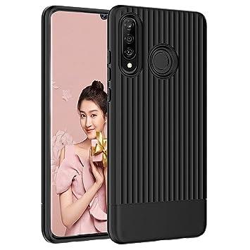 QITAYO Funda Huawei P30 Lite de Tup Suave Carcasa Antigolpes & Anti-Rasguño & Antideslizante para Protección del Huawei P30 Lite,Negro