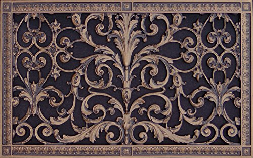 "Decorative Vent Cover, Grille, made of Urethane Resin in Louis XIV, French style fits over a 24"" x 14"", Total size, 26"" by 16"", for wall & ceiling installation only. (not for floors) (Rubbed - Wall Flat Vent Bronze"