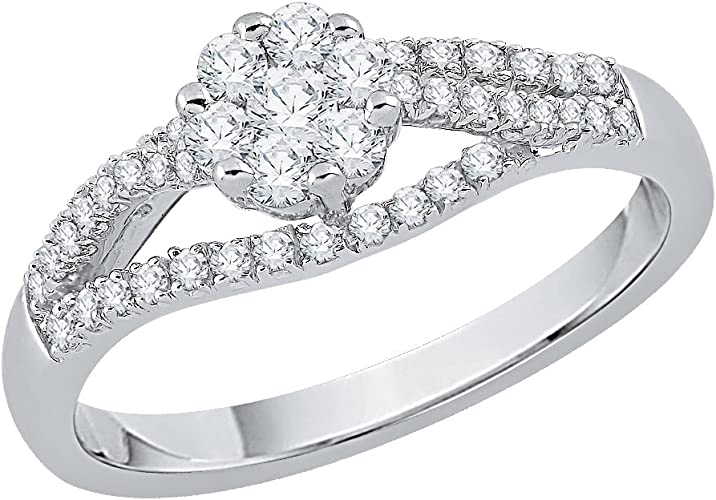 G-H,I2-I3 Diamond Wedding Band in Sterling Silver 1//6 cttw, Size-5
