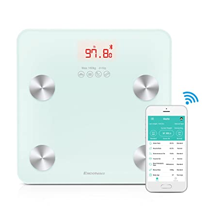 Báscula electrónica Bluetooth Excelvan análisis grasa corporal pantalla LCD retroiluminada 180 kg Color blanco