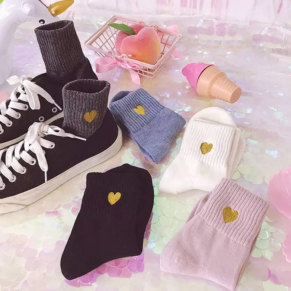 Padaleks 5 Pairs of Womens Cute Funny Crew Sock Cotton Students Love Embroidery in Stockings Sports Tube Socks