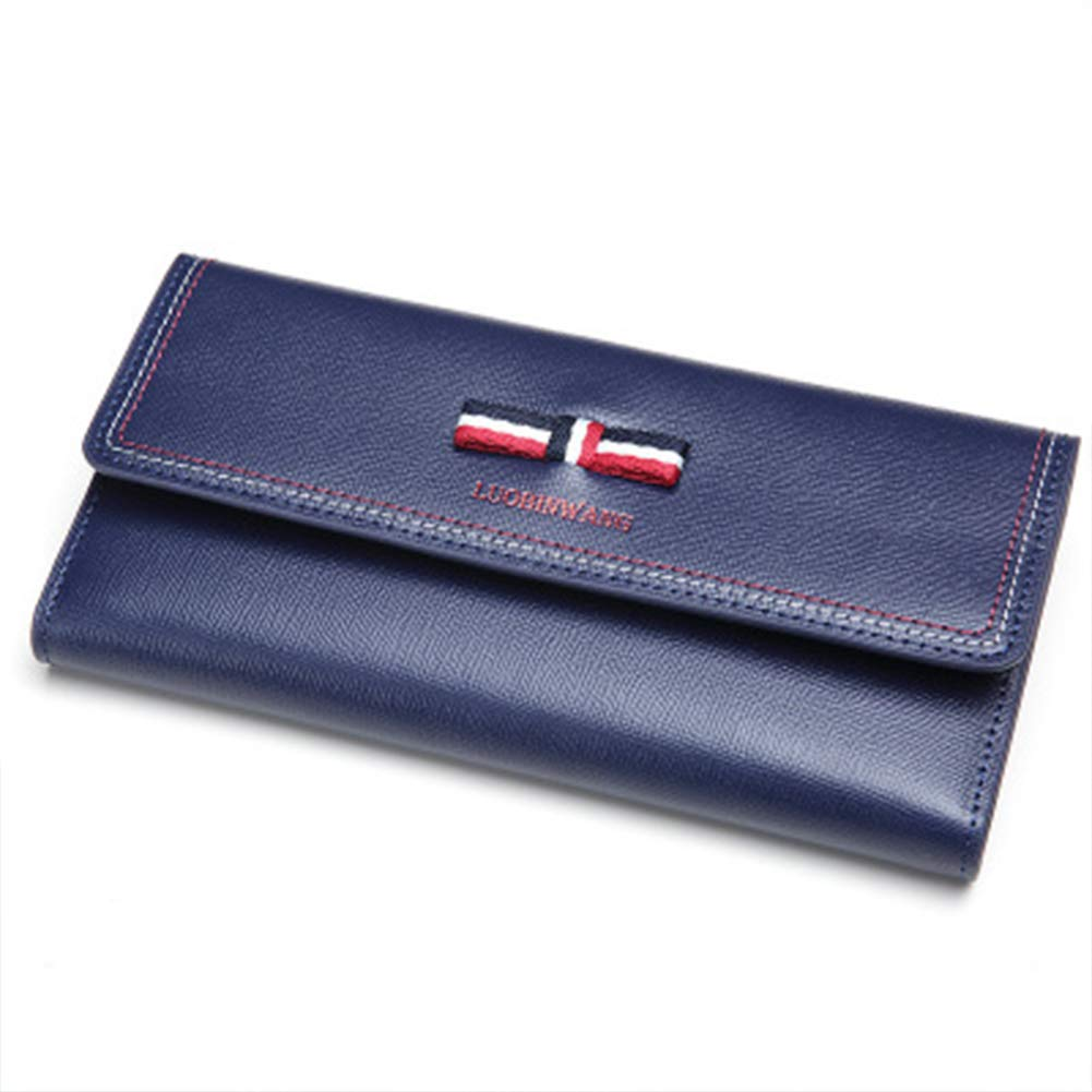 2019 new wallet female British tide personality long wallet real leather bow leather folder multi-card clutch