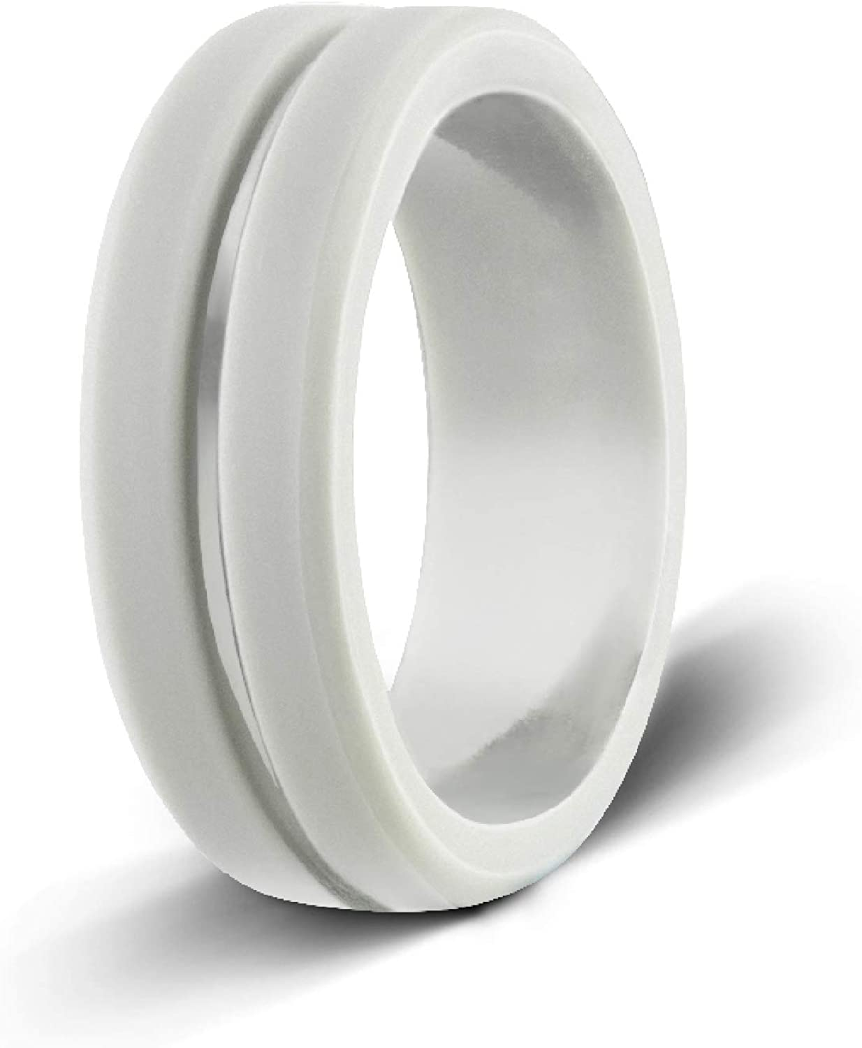 It is a graphic of Egnaro Silicone Wedding Ring,Premium Silicone Wedding Bands for Men,Rubber Bands,Flexible,Skin Safe &Comfortable