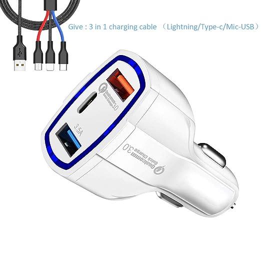 ZDZHU Cargador de Auto USB 3 Puertos QC3.0 2 USB + Tipo C ...