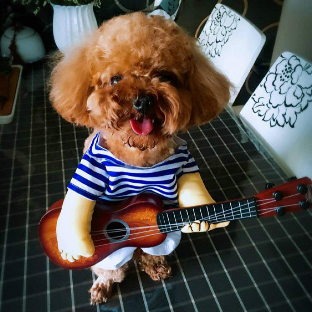 Vevins Pet Cowboy Costume Rocker Guitar Clothes for Small Dog Puppy Cat Halloween Party Christmas Apperal