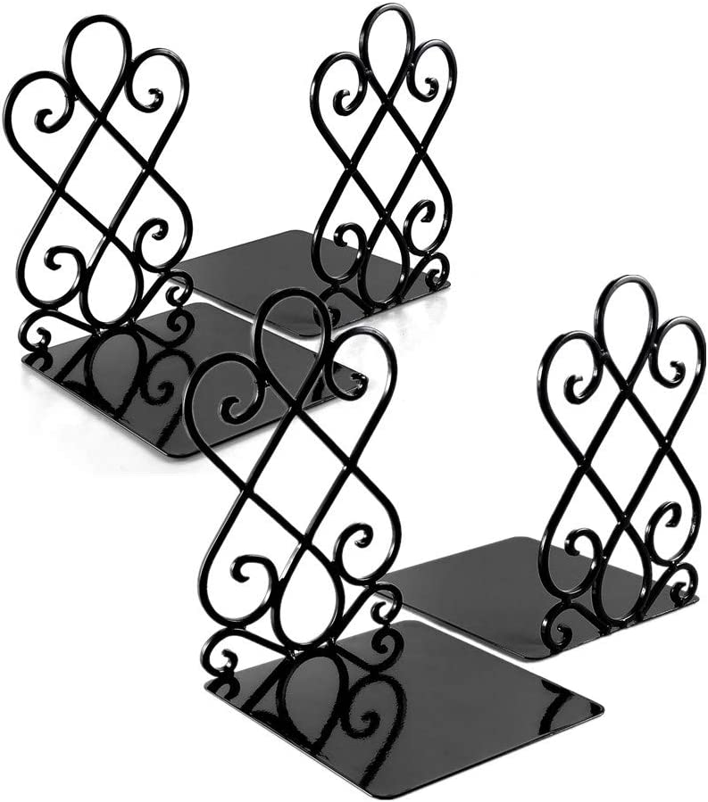 Bookends, Metal Book Ends for Shelves Heavy Duty Decorative Book Support Non-Skid for Office Desk School Library Organizer Gift, 7 x 6.1 x 8.6 inch Black (2 Pairs)