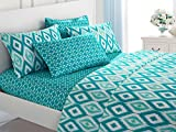 Difference Between King and Cal King Mattress Chic Home 4 Piece Arundel Ikat diamond and contemporary geometric pattern print technique Twin Sheet Set Aqua