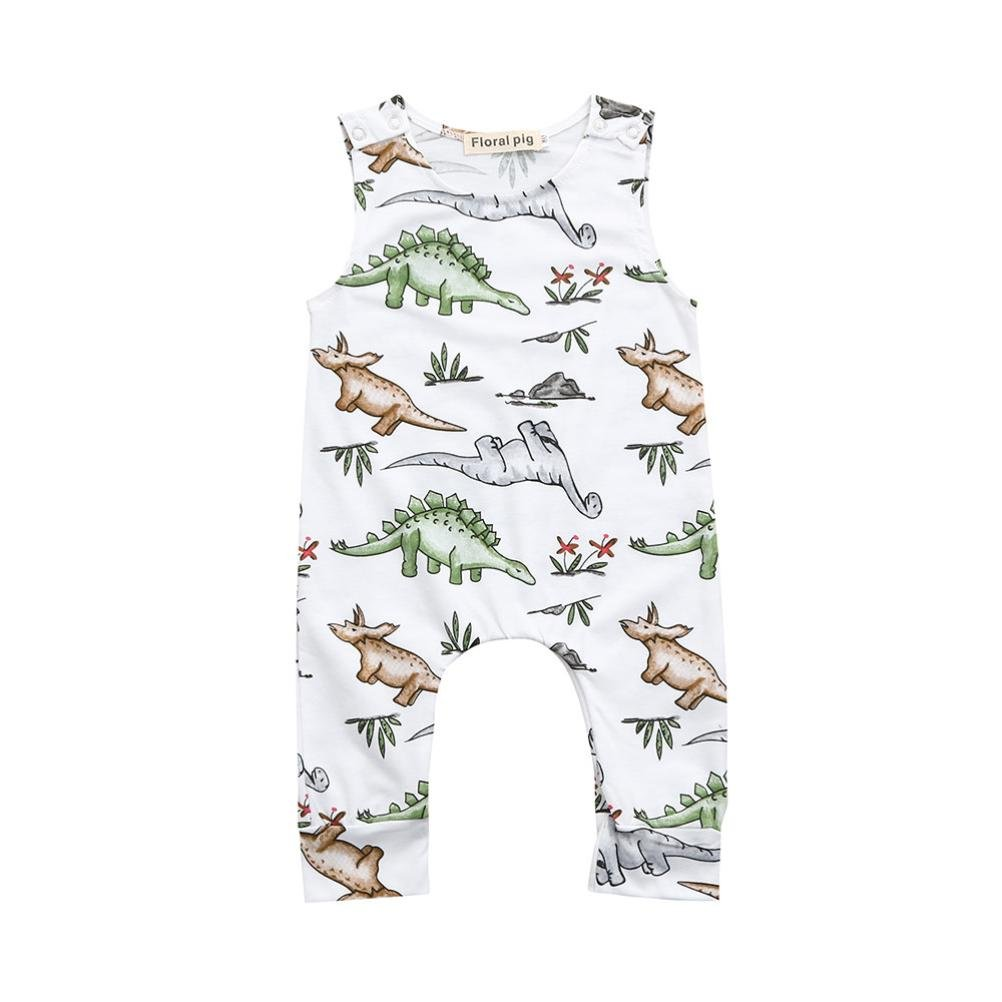 Baby Clothes for 0-24 Months, Hevoiok Newborn Infant Toddler Baby Boys Girls Romper Casual Fashion Cartoon Dinosaur Print O Neck Sleeveless Jumpsuit