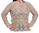 Raan Pah Muang RaanPahMuang Brand Hand Crotchet Hemp Thread Long Sleeve Shirt Floral Motif, X-Large