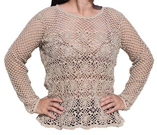 Raan Pah Muang RaanPahMuang Brand Hand Crotchet Hemp Thread Long Sleeve Shirt Floral Motif, X-Large by Raan Pah Muang