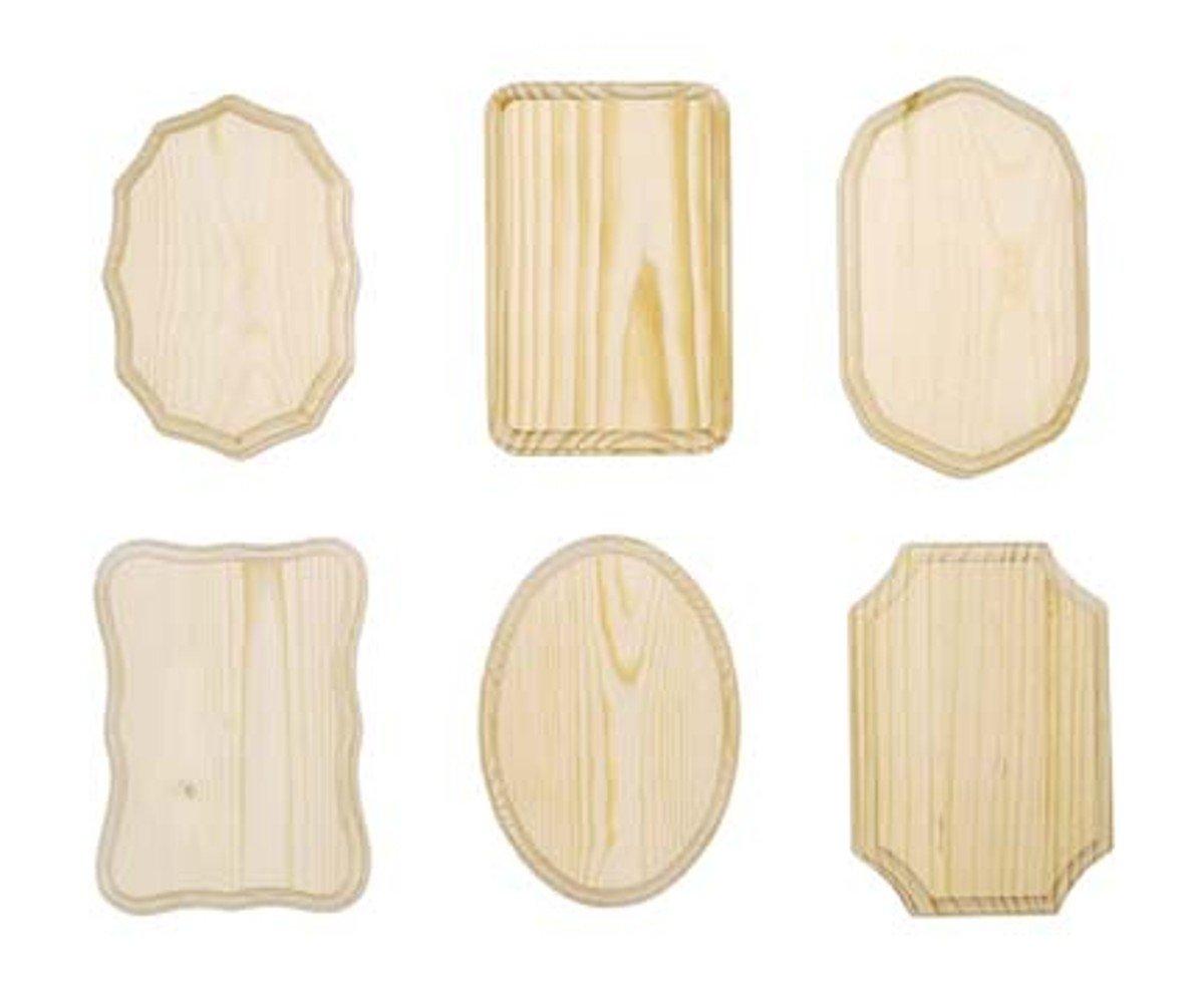 Darice 9179-63 Wooden Assorted Plaque, 7-Inch - x 6 PC