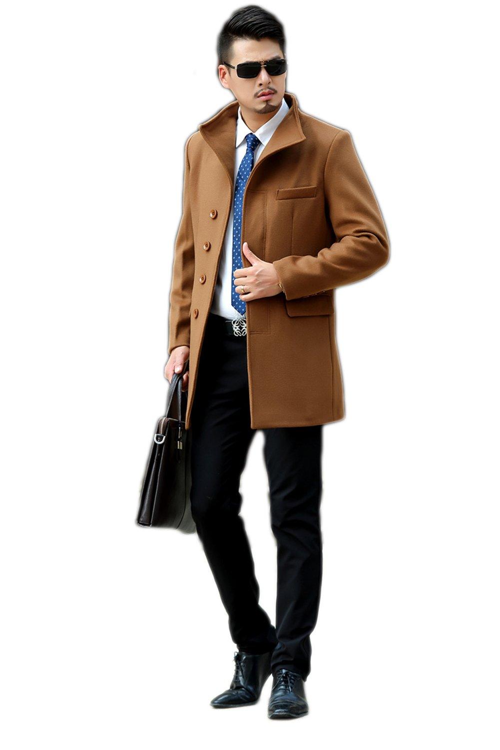 Love Dress Men Winter Wool & Blend Jacket Coat Yellow L