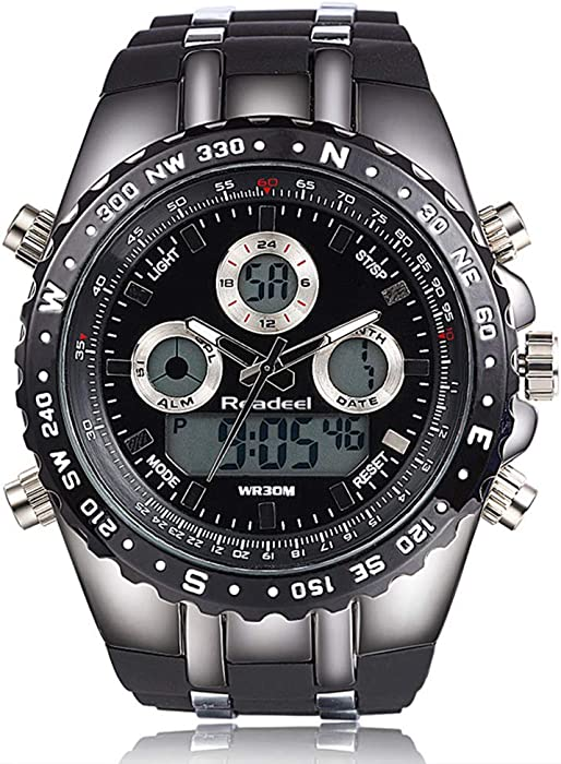 f7d56c1b8 Amazon.com: Rubber Strap Analog Digital LED Dual Time Display Mens Watch:  Tonnier: Watches