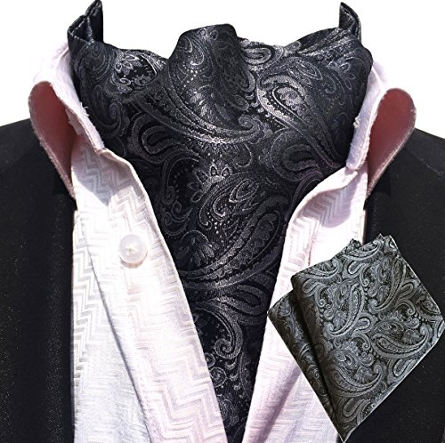 MOHSLEE Men Silver Paisley Jacquard Woven Self Cravat Tie Ascot handkerchief Set by MOHSLEE
