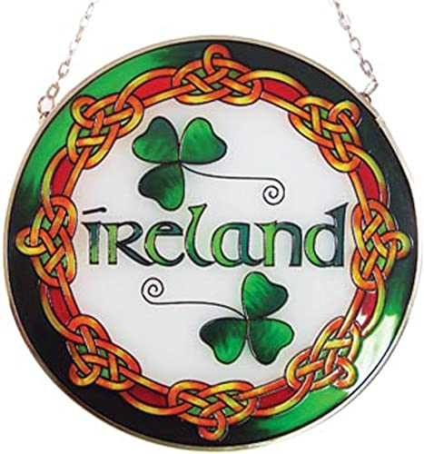 Royal Tara Ireland Round 16cm Stained Glass Window Irish Suncatcher Hang