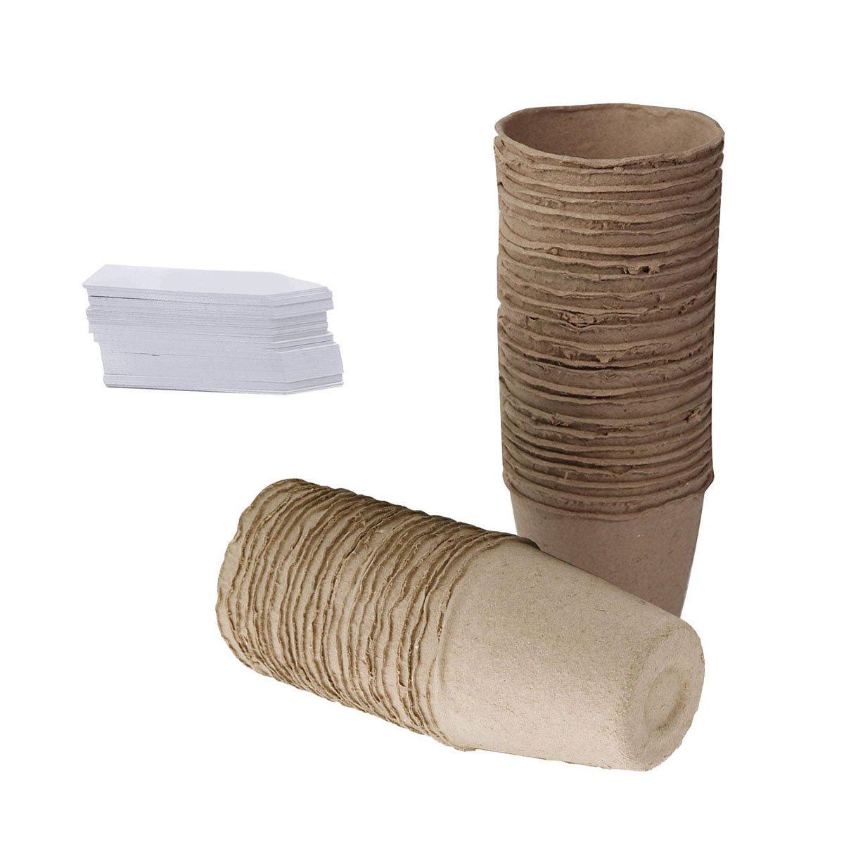 KINGLAKE 100 Pcs 6 cm Small Round Fibre Pots Biodegradable Seed Seedling Pots 1