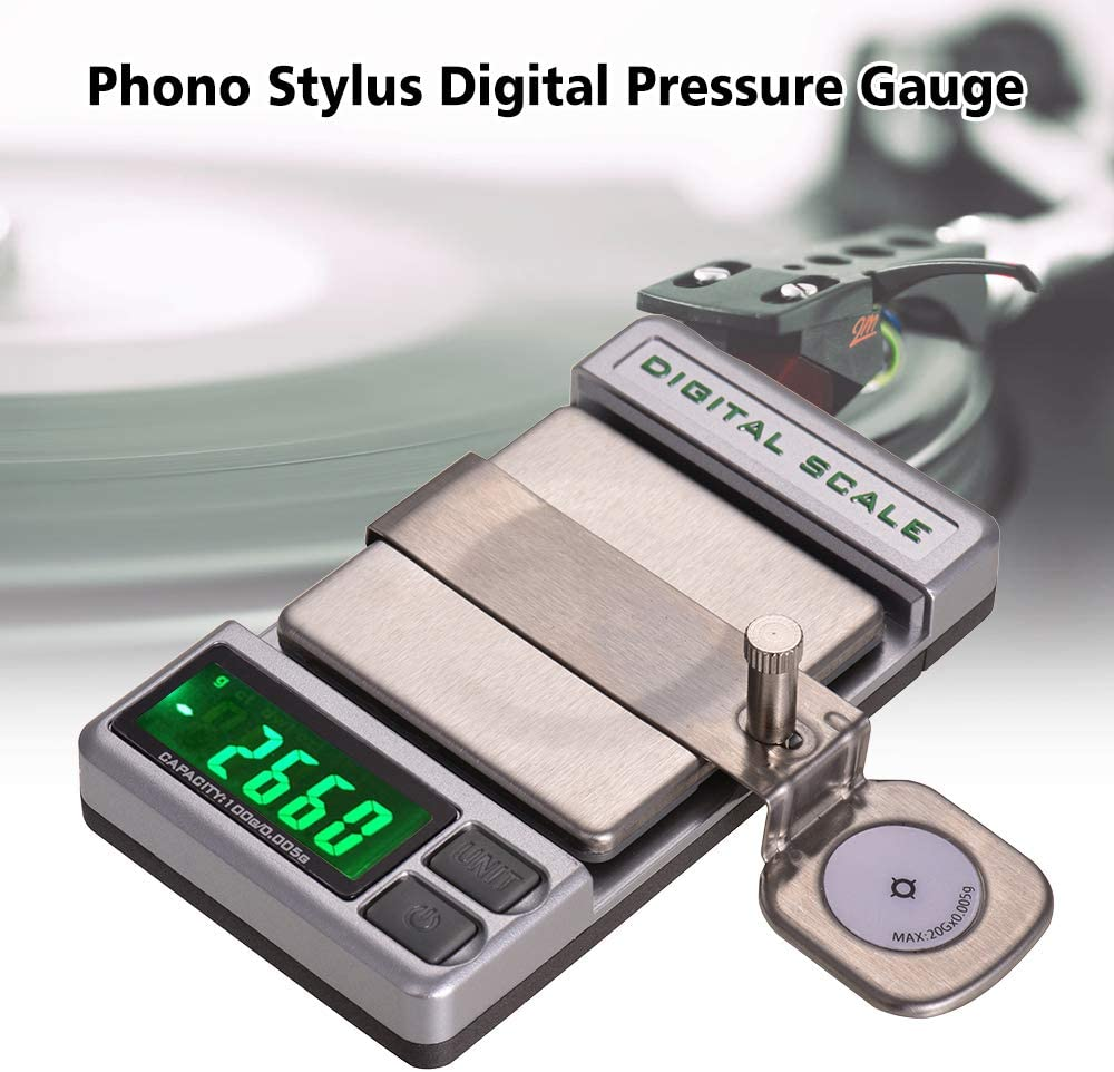 Muslady Precision Turntable Phono LP Stylus Force Digital Scale Pressure Gauge Electronic Balance Mechanis 0.005g Accuracy 5 Digits LCD Display with One 20g Weight Storage Bag