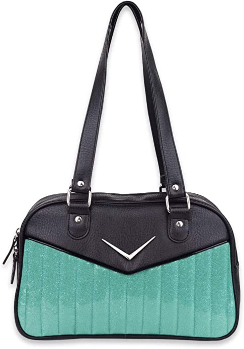 1950s Handbags, Purses, and Evening Bag Styles LiquorBrand Bonneville Bowler Purse with Chevron Logo $64.95 AT vintagedancer.com