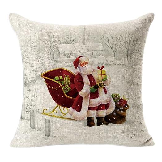 Toamen Christmas Linen Square Throw Flax Pillow Case Decorative