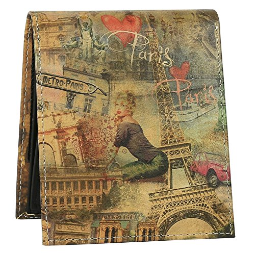 Paris Collage Wallet - Bifold Trifold Artisan Leather Wallets for Men With 2 ID Windows - Durable Designs and Graphics