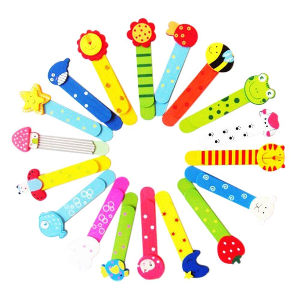 haodou 6pezzi segnalibro righello di legno per bambini, bunt, Carino fumetto segnalibro righello con Cartoon Animale motivi 11.2x 3.5cm Colore Casuale