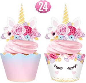 xo, Fetti Unicorn Cupcake Toppers + Wrappers - set of 24 | Rainbow Birthday Party Supplies + Magical Flower Decorations