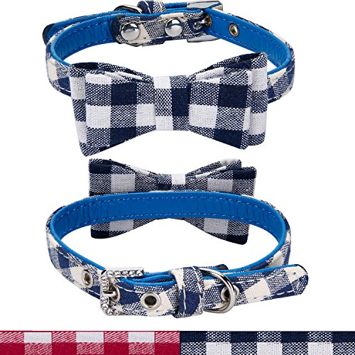 Blue Plaid Leather Dog Collar - Jseng Designer Bowtie Pet Collar for Dogs and Cats | PU Leather w/ Crystal Buckle | Adjustable Comfort, Plaid Red or Blue Style Fabric | X-Small and Small Sizes