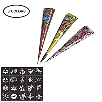 Temporary Tattoo Kit Aolvo 3 Colors Indian Henna Tattoo Paste Cone