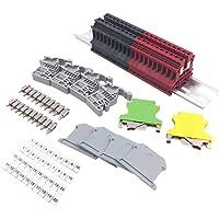 Bopfimer DIN Rail Terminal Blocks Kit Terminal+Ground Blocks+Aluminum Rail+End Brackets+End Covers+Jumpers Kits