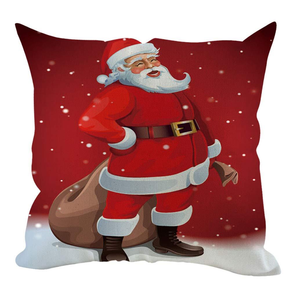 HAPPIShare 1PC Happy Winter Red Snowflake Let It Snow Snowman Christmas Tree Animal Elk Merry Cotton Linen Square Throw Waist Pillow Case Decorative Cushion Cover Pillowcase Sofa 18x 18