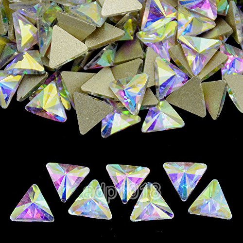 Flat Triangle - AD Beads Top Czech AB Crystal Multi-Shape Flatback Rhinestone Nail Art Decoration DIY (50 Pcs, 10. Triangle 6x6mm)