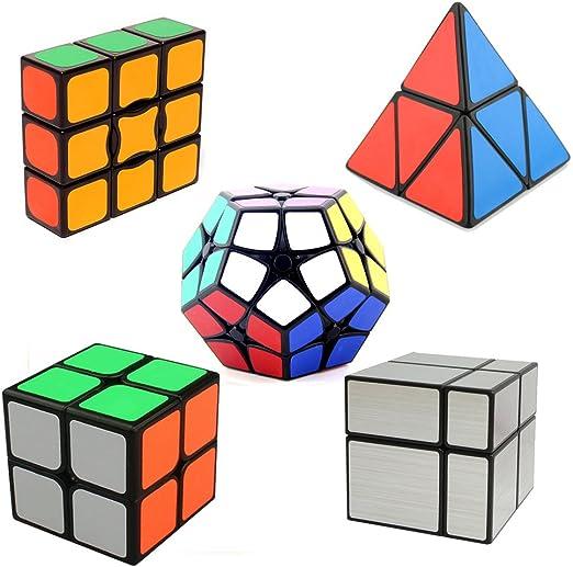 HJXDtech- Paquete mágico de 5 Paquetes del Cubo del Espejo + 2x2 megaminx + 2x2 pyraminx + 1x3x3 + Cubo mágico 2x2x2: Amazon.es: Juguetes y juegos