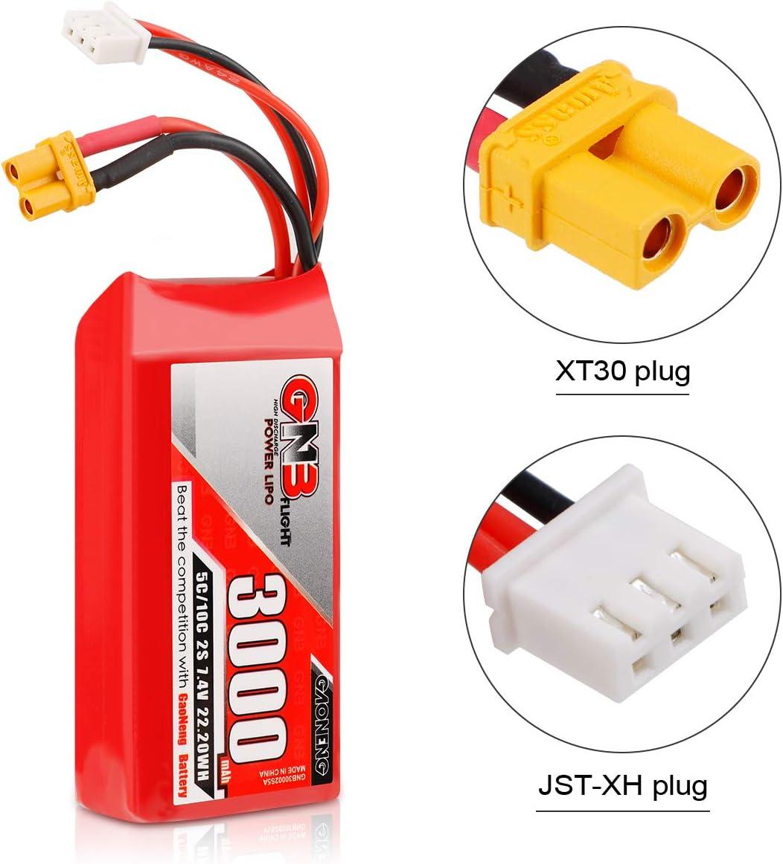 FancyWhoop 2S Li-Ionen Batterie 7,4 V 5000 mAh XT30-Stecker f/ür RadioMaster TX16S Funksender Fernbedienung RC Auto Gel/ändewagen-Batterie