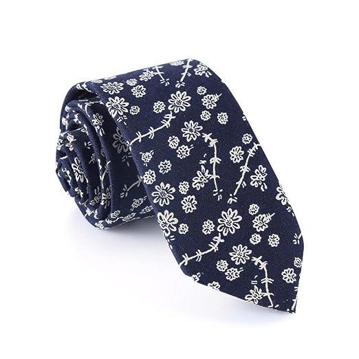 BAIJJ 6 cm Azul Oscuro Flor Blanca Floral Flaco diseño clásico ...