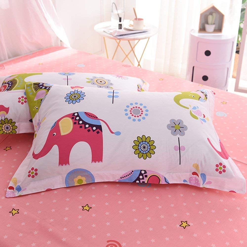Pink, Twin Size OTOB Cartoon Unicorn Twin Duvet Cover Set Cotton Bed ORBT23-4T Lightweight Striped Kids Teen Bedding Sets 3 Piece for Girls Toddler Adult with 1 Comforter Cover 2 Pillowcases Cloud Print