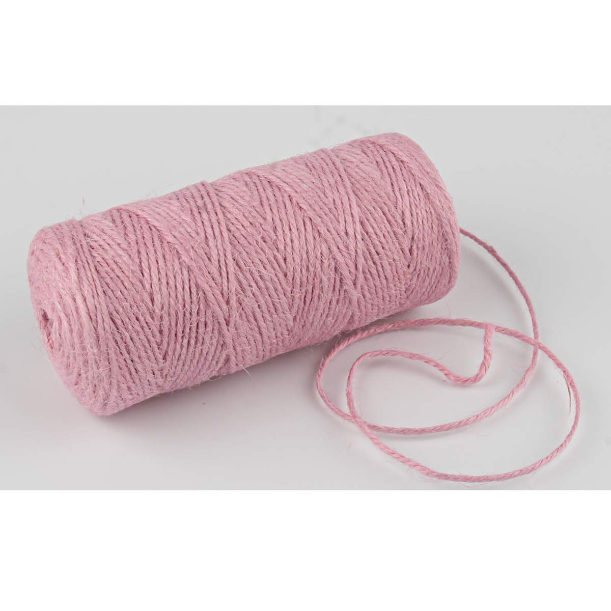 Pink Jute Twine,328 Feet Jute Twine 2mm Colored Jute String Cord for DIY Arts Crafts Gifts Decoration