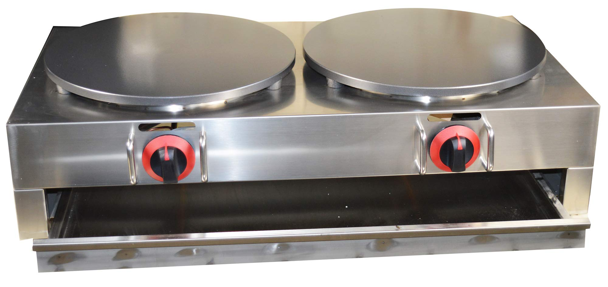 Intbuying LP Gas Crepe Machine Griddle, Commercial Plate Crepe Machine Snack Machine Hot Plate (Double plates)#134042