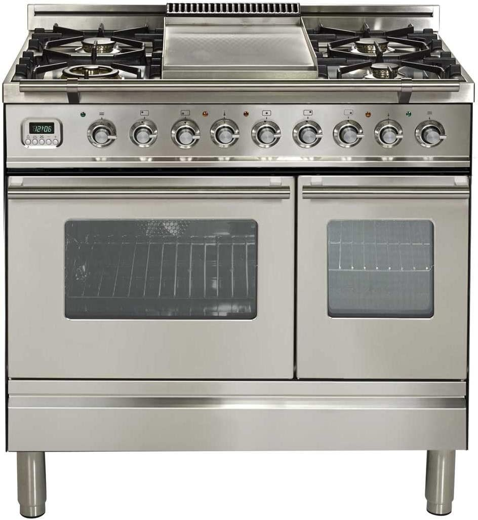 Ilve UPDW90FDMPI Pro Series 36 Inch Dual Fuel Convection Freestanding Range, Double Ovens, 3.55 cu.ft. Total Oven Capacity in Stainless Steel (Natural Gas)