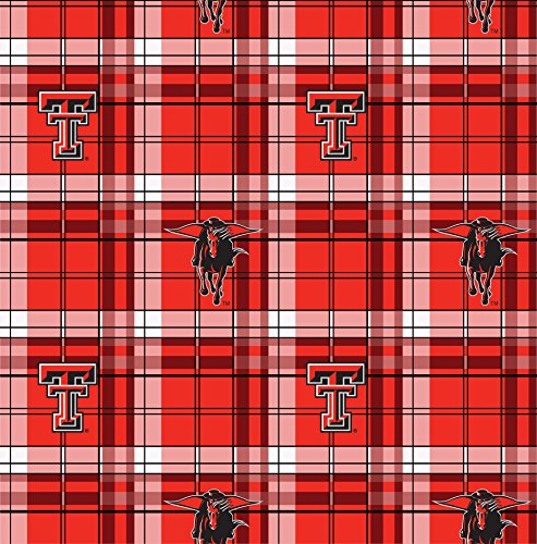 TEXAS TECH FLEECE BLANKET FABRIC FABRIC-TEXAS TECH PLAID FLEECE FABRIC-SOLD BY THE YARD