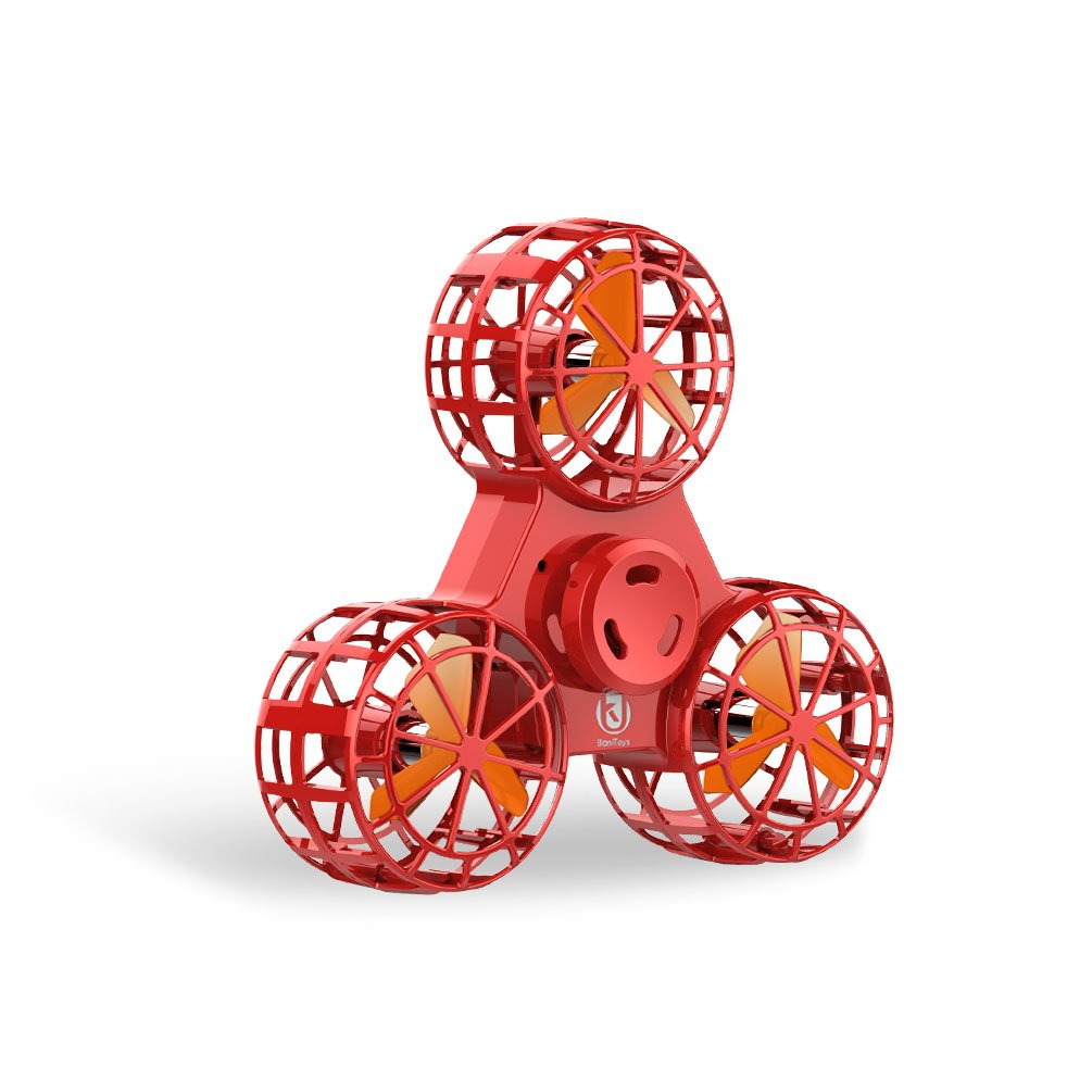 BoniToys F1 Flying Fidget Spinner,Anti-Anxiety Relieving Boredom Interactive Mini Drone Outdoor Spinning Toys for Kids Adult,Vivid Red