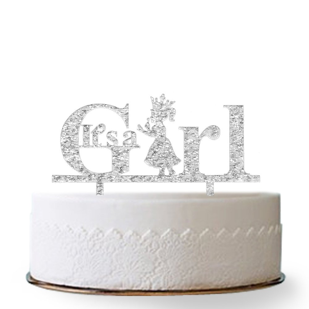 Silver Firefairy It/'s a Girl Acrylic Gold Cake Topper Princess Cake Topper